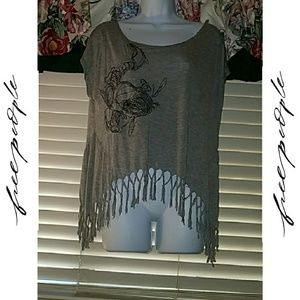 *We The Free Asymmetrical Graphic Tee w/Fringe!*